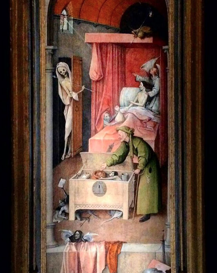 Hieronymus Bosch, Death and the Miser (c. 1500-1510), via Quincy Childs for Art Observed
