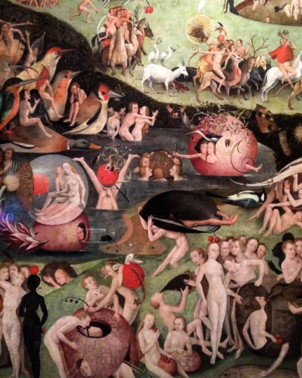 Hieronymus Bosch, Garden of Earthly Delights (detail) (c. 1495-1505), via Quincy Childs for Art Observed
