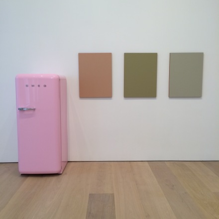 Sherrie Levine, Pink SMEG Refrigerator and Renoir Nudes (2016), via Art Observed