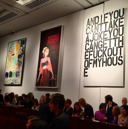 Inside the Christie's Auction room, via Art Observed