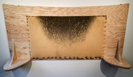 Jessi Reaves, Anyone Knows How It Happened (Headboard for One) (2016), via Art Observed