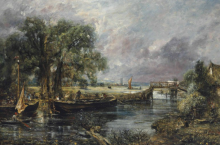 John Constable, View on the Stour near Dedham, full-scale sketch (c. 1821), via Christie's
