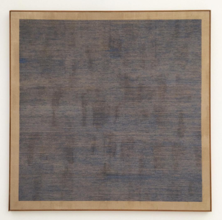Agnes Martin, Falling Blue (1963), via Art Observed