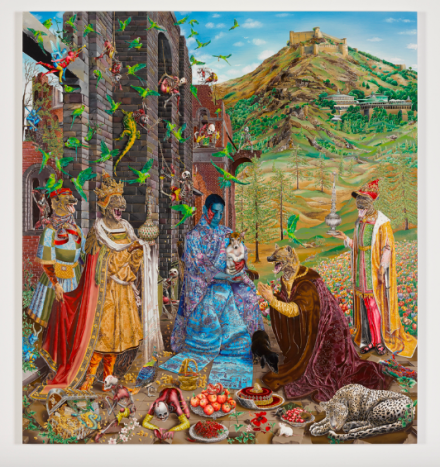 Raqib Shaw, The Adoration (After Jan Gossaert) (2015-2016), via Art Observed