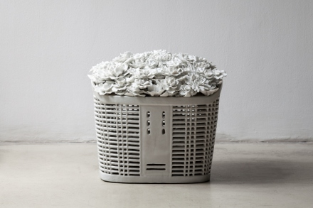 Ai Weiwei, Bicycle Basket with Flowers (2014), via Max Hetzler