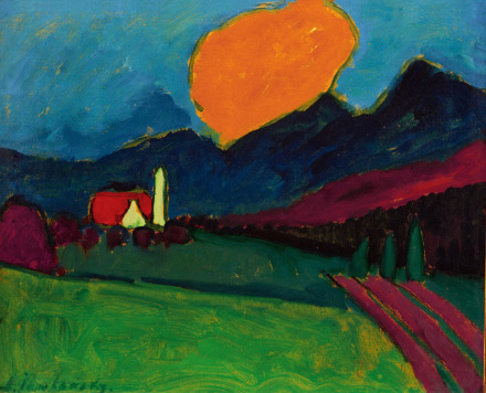 Alexej von Jawlensky, Murnau—Landscape, Orange Cloud (1909), via Fondation Beyeler