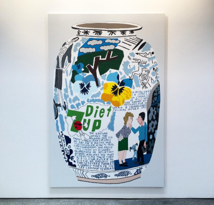 Jonas Wood, Diet 7Up Frinkess Pot (2016), via Art Observed
