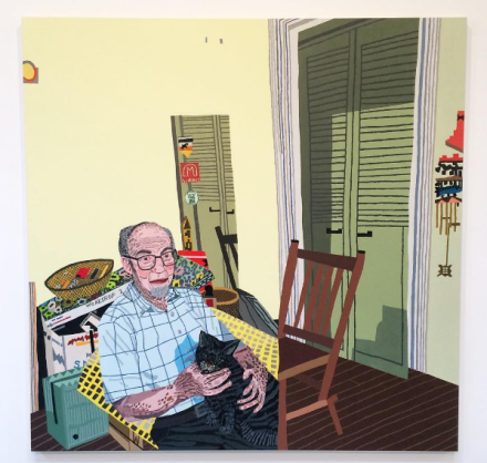 Jonas Wood, Rosy in my Room with His Cat (2016), via Art Observed