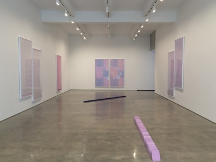 Sara VanDerBeek, Pieced Quilts, Wrapped Forms (Installation View), via Art Observed