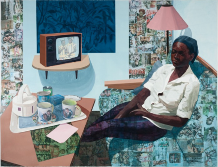 Njideka Akunyili Crosby, Super Blue Omo (2016), courtesy of Victoria Miro