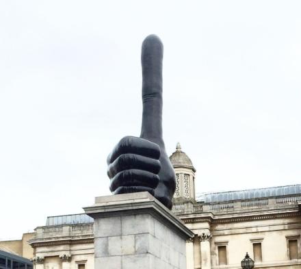 David Shrigley, Really Good at Trafalgar Square, via Art Observed