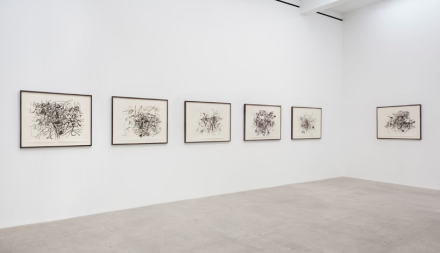 Julie Mehretu, Hoodnyx, Voodoo and Stelae (Installation View), via Art Observed