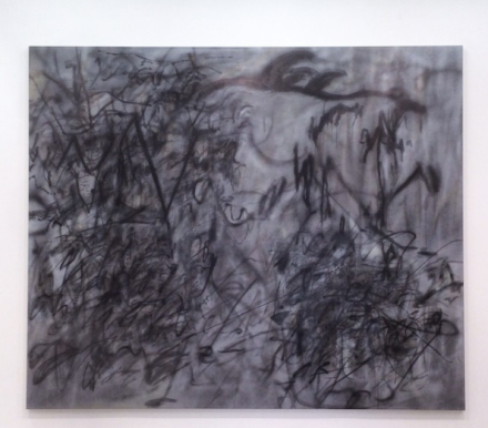 Julie Mehretu, Stelae 4 (Hoodnyx) (2016), via Art Observed