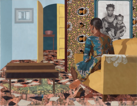 Njideka Akunyili Crosby, Mother and Child (2016), courtesy of Victoria Miro