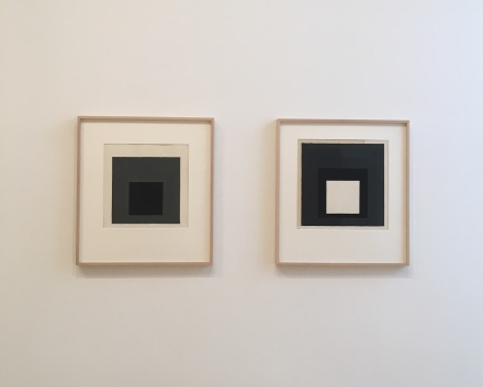 Josef Albers, Grey Steps, Grey Scales, Grey Ladders (Exhibition View), via Art Observed
