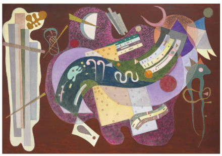 Wassily Kandinsky, Rigide et courbé (1935), final price $23,319,500, via Christie's