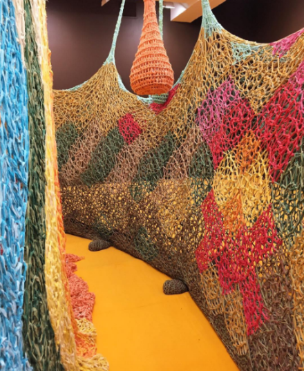 Ernesto Neto, The Serpent's Energy Gave Birth To Humanity (Installation View), via Art Observed