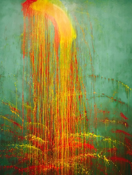 Pat Steir, Middle Lhamo Waterfall (1992), via Art Observed