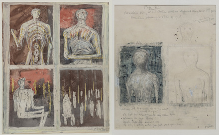 Henry Moore, Recto: Prometheus and His Statues, Verso: Statue of a Young Girl (1949—1950)