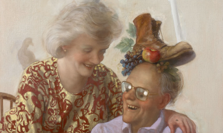 John Currin, Newspaper Couple (2016), via Sadie Coles