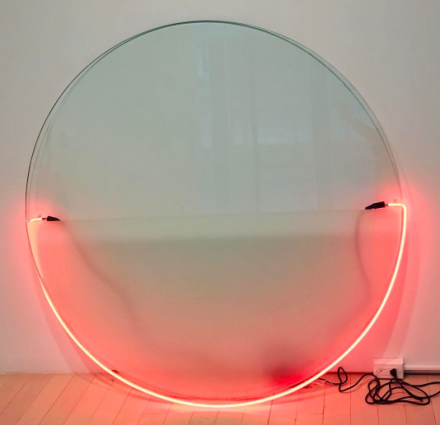 Keith Sonnier, Lit Circle Red with Etched Glass (1968), via Art Observed