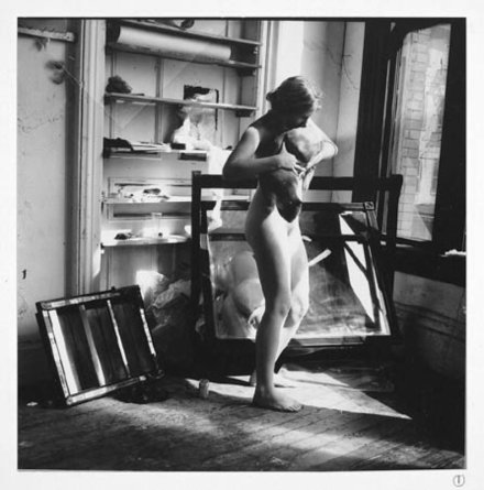 Francesca Woodman, A woman a mirror; a woman is a mirror for a man (1975), via Samson
