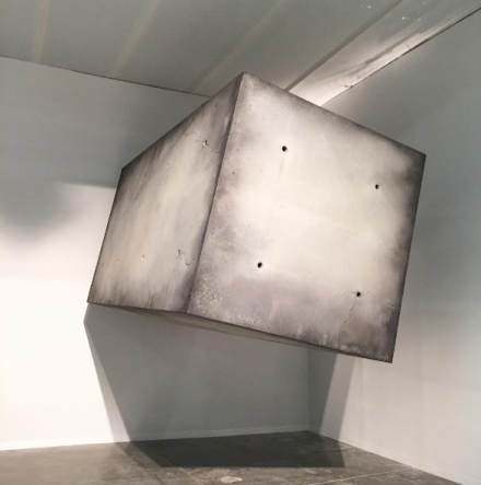 Studio Drift's floating concrete block at Pace Gallery, via Art Observed