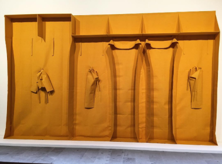 Franz Erhard Walther, Wall Formation Yellow Modeling (1985), via Art Observed