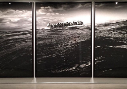 Robert Longo, Untitled (Raft at Sea) (2016-17), via Art Observed