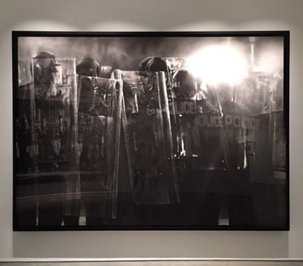 Robert Longo, Untitled (Riot Cops) (2016), via Art Observed