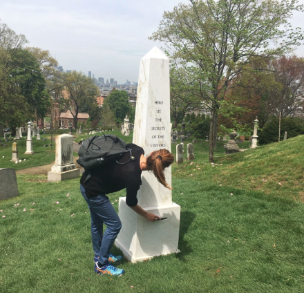 Sophie Calle, Here Lie the Secrets of the Visitors of Green-Wood Cemetery (Installation View), via Lindsay LeBoyer for Art Observed