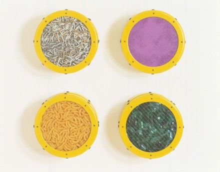 Ashley Bickteron, Small Yellow Catalog Cigarettes, Purple Pigment, Cheese Doodles, Broken Glass (1991), via Lehmann Maupin