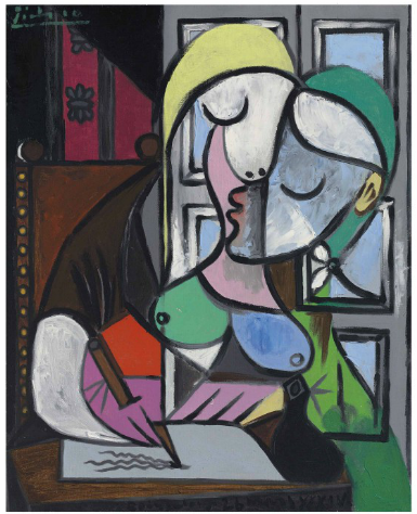 Pablo Picasso, Femme écrivant (Marie-Thérèse) final price £34885000, via Christies