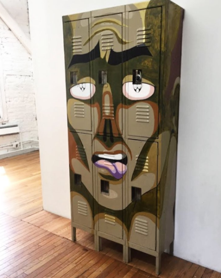 Julien Ceccaldi, Repulsed Face Locker (2017), via Art Observed