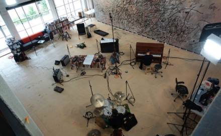 Jason Moran in Julie Mehretu's Studio, via Performa