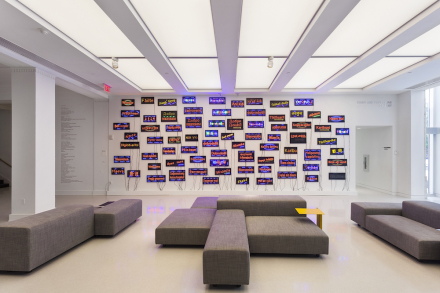 View of the new lobby and Pascale Marthine Tayou's Welcome Wall (2015) at The Bass. Photography by Zachary Balber. Courtesy of The Bass, Miami Beach.