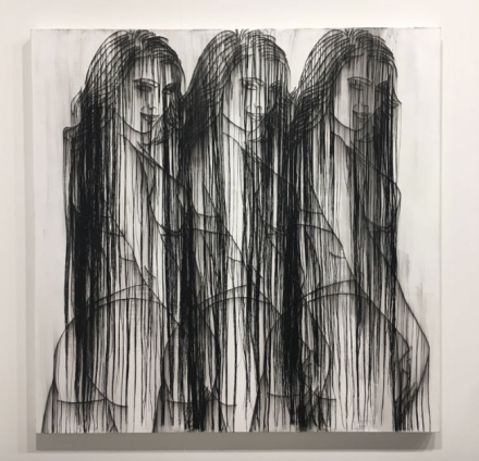 Ghada Amer at Cheim & Read, via Art Observed