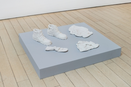 Candice Lin, Fragments from a Hard White Body (Socks, Boots, Underwear, and Hoodie) (2017-2018), via James Cohan