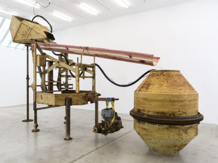 Virginia Overton, Untitled (Cement Mixer Water) (2018), via Bortolami