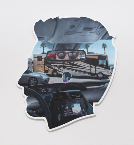 Alex Israel, Self-Portrait (Rear-view Mirror) (2018), via Greene Naftali