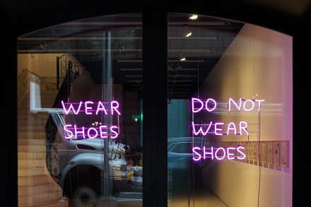 David Shrigley, WEAR SHOES DO NOT WEAR SHOES (2019), via Anton Kern