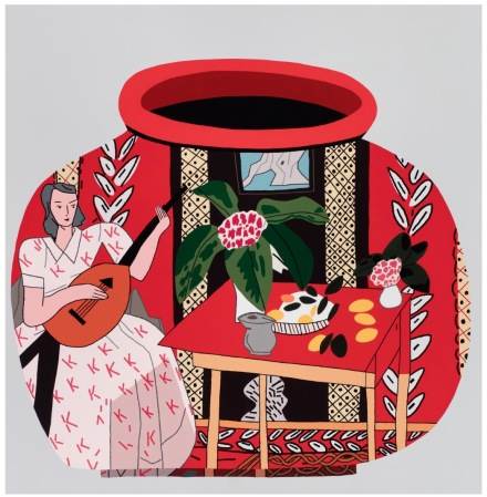 Jonas Wood Red Pot with Lute Player #2 (2018), via Gagosian