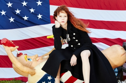 Roe Ethridge, Nathalie with Hot Dog and Flag (2014), via Andrew Kreps