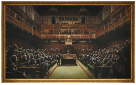 Banksy, Devolved Parliament (2009), final price £9,879,500, via Sotheby's