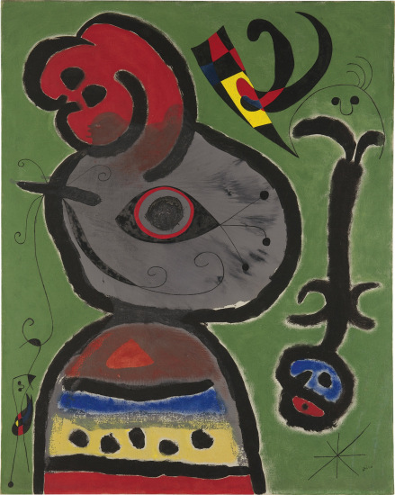 Joan Miro, Paysan catalan inquiet par le passage d'un vol d'oiseaux (1952), via Phillips