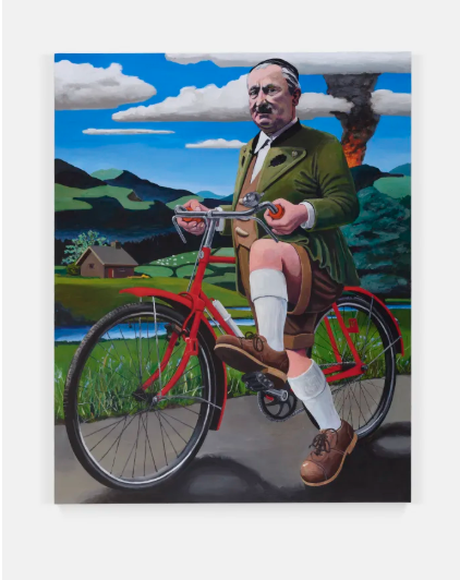 Merlin Carpenter, This is What Happens When You Collaborate with Nazis - Professor Martin Heidegger Tryinng to Escape by Bike FRom the Approaching US Army Spring 1945 (2019), via Simon Lee