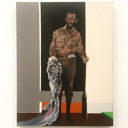 Noah Davis Man with Alien and Shotgun (2008), all images via Art Observed