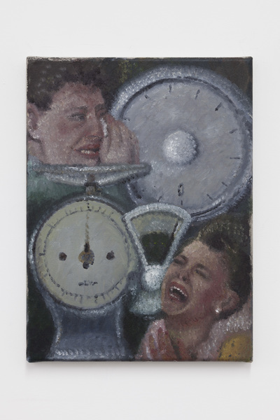 Issy Wood, Women crying with weighing scales (2019), via JTT