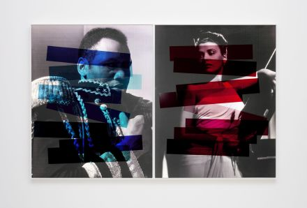 Hank Willis THomas, Interaction of Color (Josef Albers diptych) (variation with flash) (2019), via Kayne Griffin Corcoran