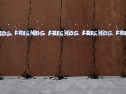 Jordan Wolfson, ARTISTS FRIENDS RACISTS (Installation View), via David Zwirner